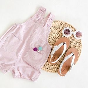 Baby Unisex Overall Suspender Trousers Romper Pink